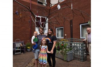 First leaves in place on commemorative Rainbow Tree