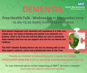 Health Professionals provide support and guidance on dementia
